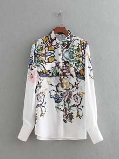 Europe and the United States loose long-sleeved lapel positioning printing shirt