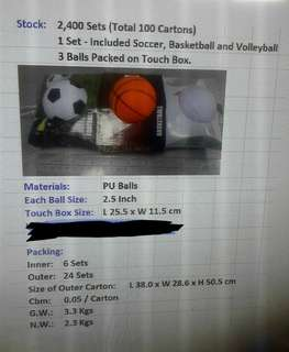 Football, Wally ball, and basketball, all in one set, $12 HKD for each set