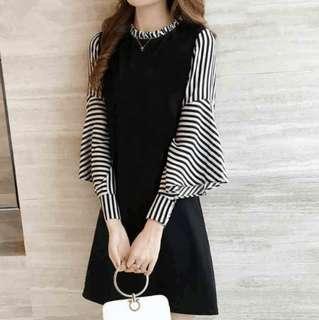 TD BN Korean elegant lantern sleeves stripes dress