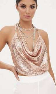Sparkly Rose Gold Cowl Neck Top