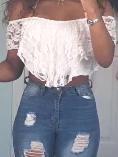 Off-Shoulder Lace Ruffle Crop top