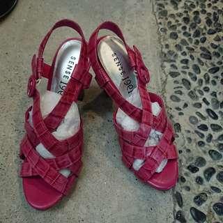 🚚 1991桃紅色高跟涼鞋 二手