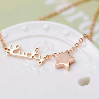 五角星星lucky日系輕珠寶優雅精緻細手鍊(附盒子) W151