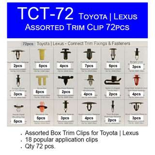 Car Toyota Lexus Panel Trim Clip  TCT-72 - 72pcs  Assorted