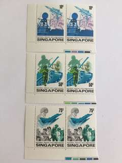 Singapore 1977 Anniversary of national service in corner pair mnh