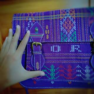Tas Selempang Ulos 100% Original Asli Ungu Purple Sling Bag