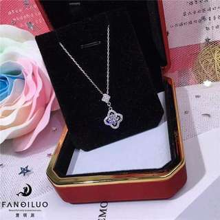 S925 Diamond Four Clover Pendant Necklace