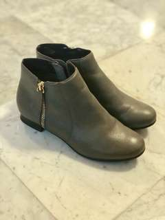 Dune Grey Leather Ankle Boots