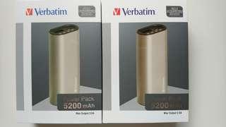 全新 Verbatim 2.5A 5200mAh 流動充電器 (2隻)