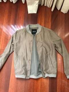 Suede camel bomber jacket