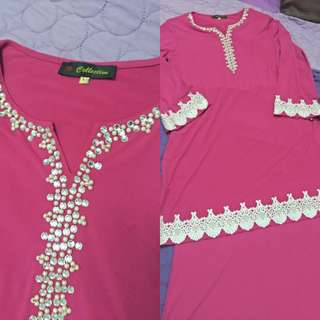 Preloved Baju Kurung Moden Pink with White lace