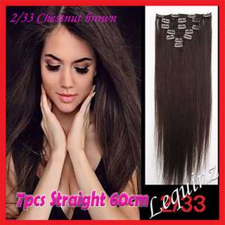 7pcs Set Hair Extensions Straight Chestnut Brown 2/33