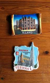 Fridge Magnet vienna austria and milano