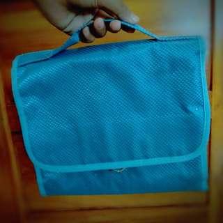 Blue Organizer Hand Bag Makeup Pouch
