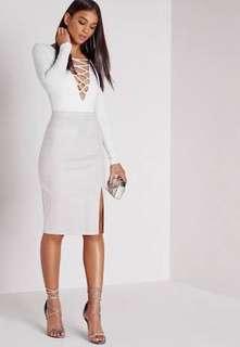 Thigh slit grey midi skirt
