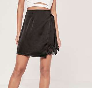 Satin and lace black wrap skirt