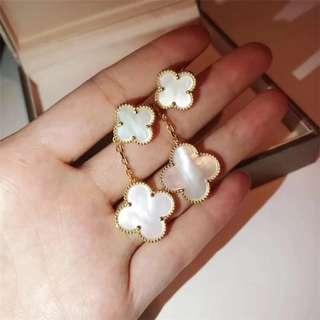 Van Cleef & Arpels Yellow Gold Vintage Alhambra Mother of Pearl Earrings