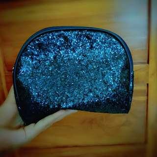 Glitter Dark Blue Pouch Wallet Dompet Simple