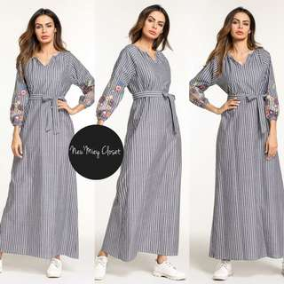 Embroidery Floral Stripe Long Maxi Dress