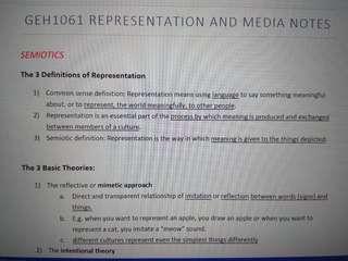 GEH1061 Representation and Media Notes