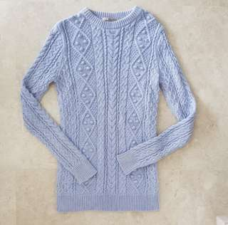 Zara Knit Longline Sweater Top Cable Knit in Lilac