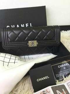 Chanel wallet lamb skin silver