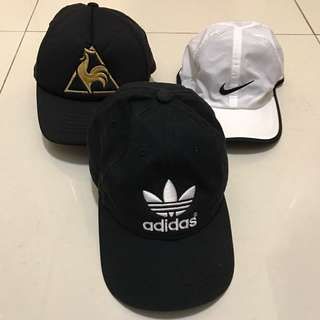 Adidas, Nike and Le Coq Sportif caps