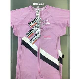 Bonds Zip Wondersuit Short Sleeves Sport Stripe Posey Size 00 0 3
