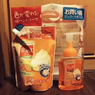 🚚 日本原裝正品 MUSE 抗菌泡沫洗手乳 250ml +450ml補充包‼️ 💰290 橘罐有淡淡果香,含有三種保濕成分 家中有小孩必備~ 大人小孩遠離腸病毒~就要常常洗手喔!