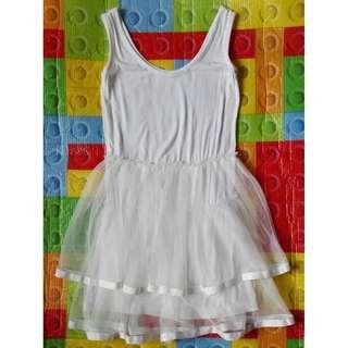 Worn once white mesh dress for 8-10yo
