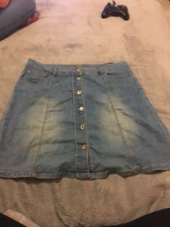Denim button up skirt