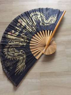 Decor Fan with Golden Dragon Painting