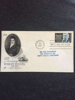 US 1965 Robert Fulton FDC stamp