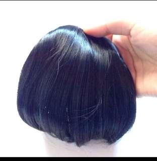 純黑瀏海假髮片