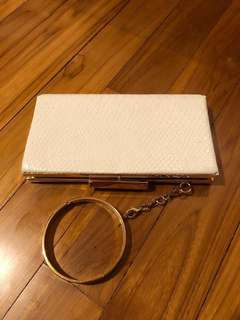 ALDO White Clutch with Gold Hardware