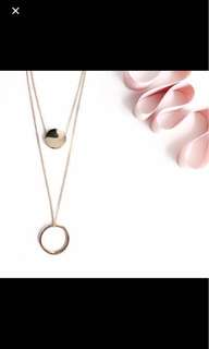 Double layer silver necklace