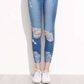 Blue ripped skinny ankle denim jeans