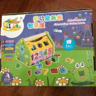 Wooden educational toy multifunctional house