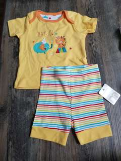 Free Mail- Brand new Mothercare animal circus elephant tiger short n shorts size 3-6m