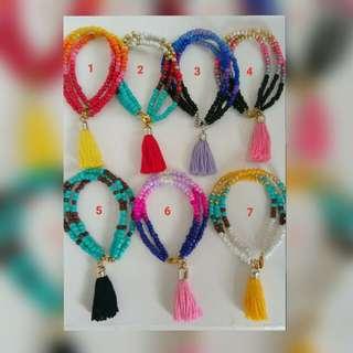 Handmade Seed Beads Bracelets with Tassels