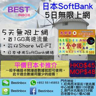 [日本最平上網卡] 5日 日本 無限上網 使用日本SoftBank網絡! -首 1GB 數據流量為 高速上網 -無限 限速 上網 -插卡開漫遊就可以上網