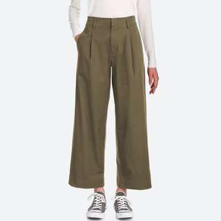 Uniqlo olive Highwaist flare pants