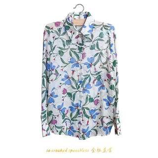 🚚 透視花草植物系女孩款/古著/薄襯衫/氣質
