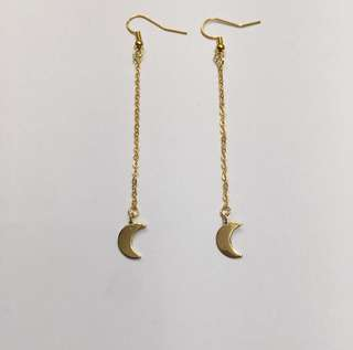 Gold drop moon dangle earrings