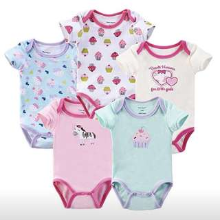Baby Short Sleeve Rompers (Set of 5)