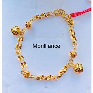 Hearts charms twist bracelet  916 Yellow Gold by Mbrilliance