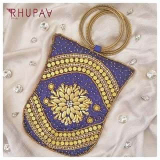 Maharani Blue Embroidery Bangle Bag