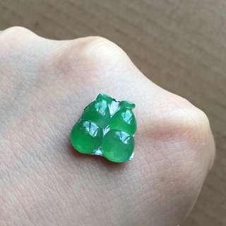 天然A貨陽綠葫蘆裸石一對