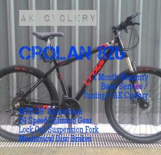 "MTB 26"" CROLAN 826 Aluminium 24 Speed Shimano Gear Lock Out Suspension Fork Mechanical Disc Brakes"