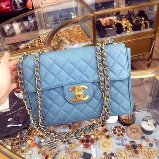Chanel vintage 霧霾藍魚子醬貝嫂maxi30